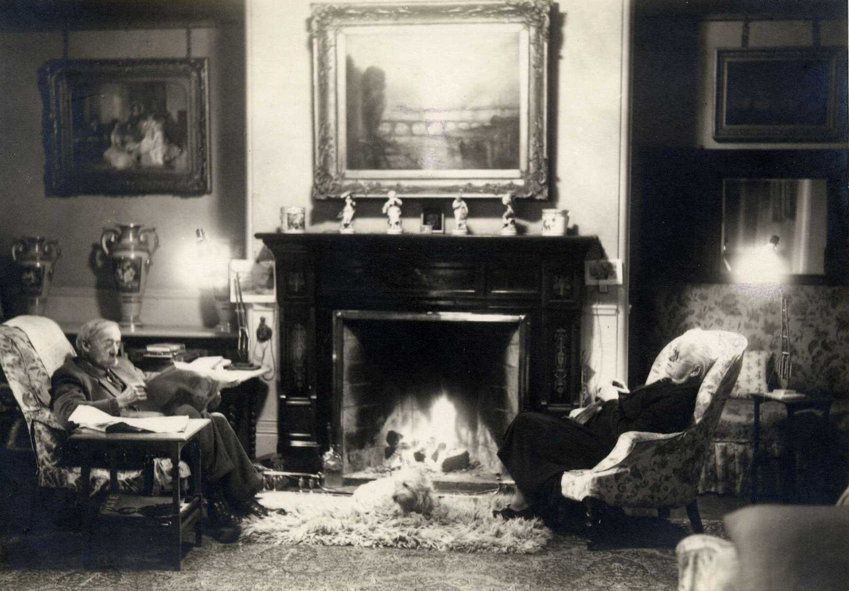 Gilbert's parents in the drawing room at Wootton Court